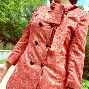 Red/Gold Double Breasted Lined Coat - Medium